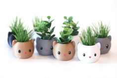 Tiny cat planter cute kitten decor with artificial plant for