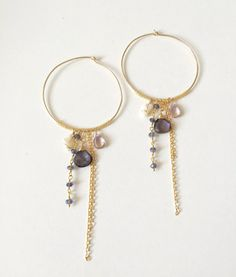 NEW! The CAPRI IOLITE earrings feature purple polite, coral, ametrine, and 14k gold mixed chains.  - 1.5 hoop diameter - 3.5 drop - lightweight  1 pair ready to ship! Matching bracelet and necklace also available.