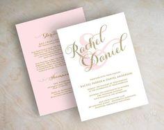 Gold glitter sparkle wedding invitation, pink and gold wedding invitations, typography, script names, cursive wedding invitation, Sparkle    The