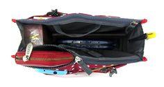 Periea Handbag Organiser, 12 Compartments - Chelsy (Red/White, Medium)