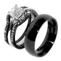 #blackdiamondgem  His & Hers 4 PCS Black IP Stainless Steel Wedding Ring Set/Men...
