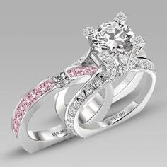 White and Pink Cubic Zirconia 925 Sterling Silver White Gold Plated Wedding Ring Set in La Cathedrale Style $249.00 by Vancaro