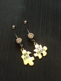 Best friend belly ring set belly button rings by SwannJewels