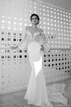 elihav sasson wedding dress 2015 long fluffy sleeves lace low cut back sheath bridal gown