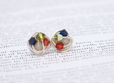 V*Dazzled Petite Jewel Series- Wire Wrapped Studs- navy, olive, deep orange and tan Crystal Bead and Silver wire Stud Earrings