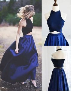 Newest Prom Dress,Halter Prom Dress,A-Line Prom Dress,Evening Dress,Two Piece Prom Dresses Simple Navy Blue Satin Evening Dresses