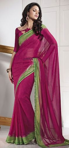#Pink & #Green #Saree - £48.00. For full product information visit: http://www.reevaonline.co.uk/sarees/deep-pink-printed-saree-with-blouse-fabric.html