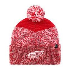 the latest 3ad5b 87af4 NHL Detroit Red Wings Red Static Cuff Knit Hat with Pom