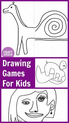Drawing games for kids help them practice drawing skills, get warmed up before tackling a larger project, and are extremely fun (and funny). Drawing Games For Kids, Drawing Lessons For Kids, Drawing Tutorials For Kids, Art Drawings For Kids, Drawing Skills, Art For Kids, Summer Camp Art, Summer School, Learning To Draw For Kids