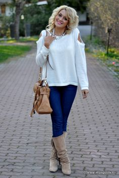 love creamy colors with jeans..