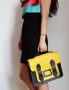 Handmade Genuine Leather Satchel / Messenger Bag / Backpack - Black with Yellow