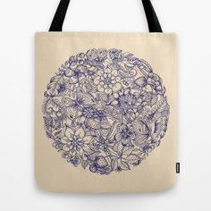 Circle of Friends Tote Bag by #Micklyn #floral #illustration #navy #cream #tote