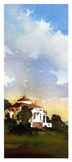 Villa Rotunda-Italy | Thomas Schaller-watercolor... love this...very different from the work I see on FB these days