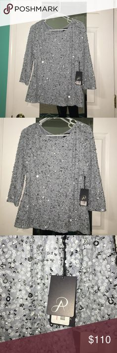 Brand new with tags! Fancy blouse Brand new with tags! Embellished blouse in grey color Adrianna Papell Tops Blouses