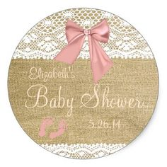 Peach Bow Burlap and Lace Guest Favor Classic Round Sticker Everyone loves stickers both children and adults. How about stickers that can be personalized? Cool concept. #printable #stickers #etsy