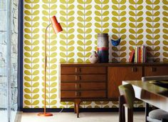 talking of orla kiely did you know that orla kiely has joined forces with harlequin to produce her wallpaper designs. the collaboration w. Orla Kiely, Her Wallpaper, Harlequin Wallpaper, Wallpaper Online, Home Trends, Retro Home, House Rooms, Designer, Mid-century Modern