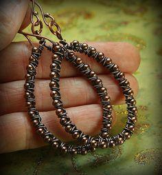 Large Boho Style Copper Hoop Earrings by AllowingArtDesigns, $20.00