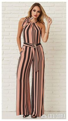 No Delays Stripe Jumpsuit Look Fashion, Hijab Fashion, Fashion Dresses, Womens Fashion, Fashion Design, Classy Outfits, Casual Outfits, Striped Jumpsuit, Mode Hijab