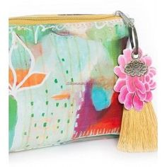 Flora Compassion Watercolor Papaya Art Small Cosmetic Makeup Pouch Bag Vegan Oil Cloth Tassel