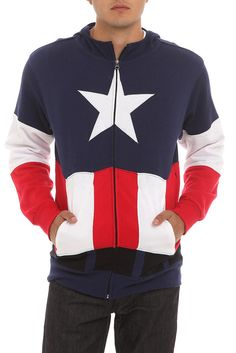 Marvel Universal Captain America Hoodie @Hot Topic .... WANT, WANT, WANT, WANT, WANT, WANT, WANT, WANT. Someone get this for me pretty pretty please!!!!!!!! #ChristmasList