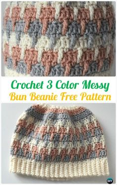 Crochet 3 Color Messy Bun Beanie Hat Free Pattern - #Crochet Ponytail Messy Bun Hat Free Patterns