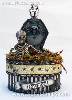 Artwork by McPhillips McPhillips Montes Calia Halloween Shadow Box, Halloween Coffin, Halloween 4, Halloween Items, Halloween Cards, Holidays Halloween, Vintage Halloween, Halloween Decorations, Halloween Diorama