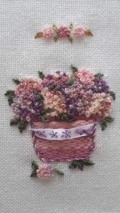 brezilya nakışı - ortancalar brazilian embroidery- hydrangeas....