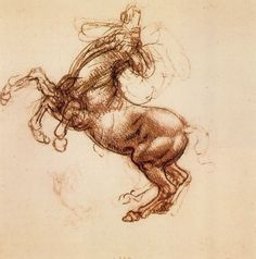 Name: Rearing Horse Artist: Leonardo Da Vinci Date: c.1483-1498 Location: Royal Collection, UK Subject: Horse Dimensions: 15.3 x 14.2 cm  This is a sketch (chalk on paper) by Leonardo Da Vinci, a Renaissance artists famous for, among other things, painting Mona Lisa and The Last Supper. This painting is a study of a horse rearing.