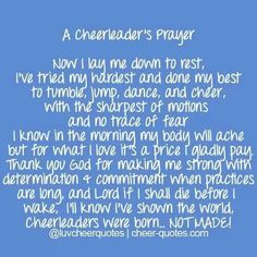 A Cheerleader's Prayer. I absolutely LOVE this. @Michelle Phillips @Whitney Wilson @bre hamtpon @Brittana Eagle @brittany root @Kelsey Mansfield @Lacey Baker