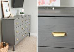 IKEA + Benjamin Moore's Chelsea Gray paint + Martha Stewart Bedford pulls (from Home Depot)