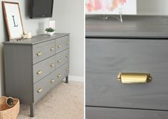 IKEA + Benjamin Moore's Chelsea Gray paint + Martha Stewart Bedford pulls (from Home Depot)
