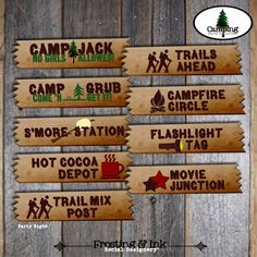 Camping Party - Campout Birthday Party - Party Activity Signs - Customized Printable (Camp, Campout, Camp Out, Outdoor, Lumberjack) via Etsy Camping Party Activities, Camping Party Decorations, Camping Parties, Camping Theme, Camping Signs, Birthday Decorations, Camping Hacks, Camping List, Decoration Party