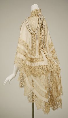 """""""1863, silk and lace mantle."""" Dated, mixed era, or steampunk. So many options! Dated for over a dress, steampunk as a jacket with tails, mixed could be either or anything from shawl to winter night gown (top half)."""