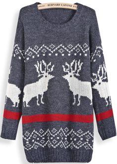 Dark Grey Long Sleeve Deer Pattern Loose Sweater EUR€24.57