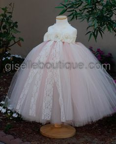 Flower Girl Dress. Mix Blush Pink and Ivory by giselleboutique, $80.00