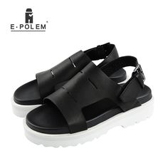 3681305044dbda Men s Sandals · 2017 Summer New England Style Men Black Retro Breathable  Genuine Leather Sandals Fashion Casual Height Increasing