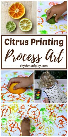 Citrus printing process art is an easy printmaking project and painting idea for children. Invite children to stamp citrus fruits (oranges, grapefruits, lemons, and limes) to make citrus art prints with this simple homeschool art lesson for toddlers, preschoolers, and kids of all ages! Process Art Preschool, Preschool Art Projects, Art Projects For Adults, Toddler Art Projects, Art Activities For Kids, Toddler Crafts, Preschool Crafts, Toddler Painting Ideas, Kids Art Lessons