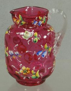 1092: Enameled cranberry Victorian art glass pitcher wi : Lot 1092