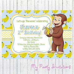 Curious George Birthday Invitation Banana por MyPartyInvitations