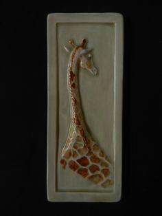 "Pistrucci Artworks - Baby Giraffe, 4""x10"" in polychrome /cafe/sienna transluscent glazes."