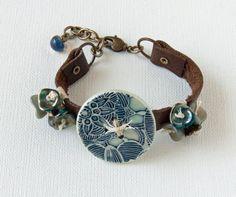 Earthy mixed media art bead leather cuff by WinterBirdStudio