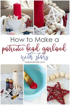 DIY your own wood bead garland that will add a touch of rustic Americana to your summer home decor. This understated red, white, and blue decoration uses grapevine stars to accent a string of chunky wooden beads. Easy to make with coordinating tassels. #myweeabode #summerdecor #woodbeadgarland #redwhiteblue