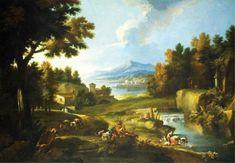 Marco Ricci - Grande paesaggio con fiume, lago e figure varie - Olio su tela, 202x291 cm