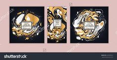 Vector set Ink texture, watercolor hand drawn artistic marbling invitation, ebru illustration. Template for sail, wedding (save date), Christmas, envelope, valentine, trendy card design for party.