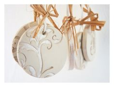 French rococo ornaments: white ceramic, pearl painted, probably stenciled