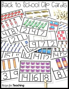 FREE Back to School Clip Cards!  Clip cards practice counting sets 1-20.  Great for a math warm-up, small guided math groups, or math stations!