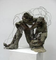 Robert Michael Jones is a sculptor figures are reinvented as temporal beings that do not stand still in time but move through it. Jones creates dynamic relationships between the raw material and form of each sculpture. Ceramic Sculpture Figurative, Wire Art Sculpture, Human Sculpture, Concrete Sculpture, Mixed Media Sculpture, Abstract Sculpture, Figurative Art, Wire Sculptures, Bronze Sculpture