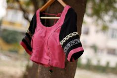 CR1311262 - Semi silk blouse in pink & black color sleaves are 10 inches.