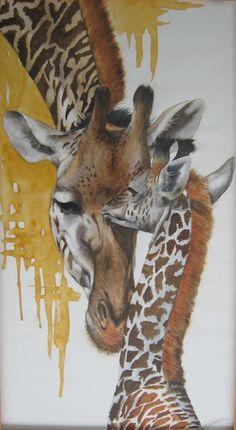 """girafon"" aquarelle Anne Larose"