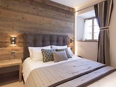 View full picture gallery of Chesa Maria - La Punt St. Bedroom Wall, Master Bedroom, Bedroom Decor, Bedroom Ideas, Chalet Interior, Wood Panel Walls, Wooden Walls, Cozy Place, Lounge Areas